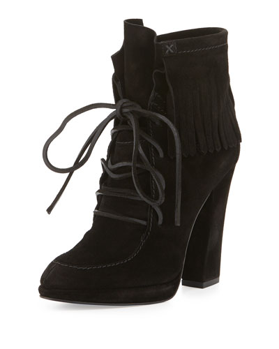 Uma Lace-Up Fringe Boot, Black (Nero)
