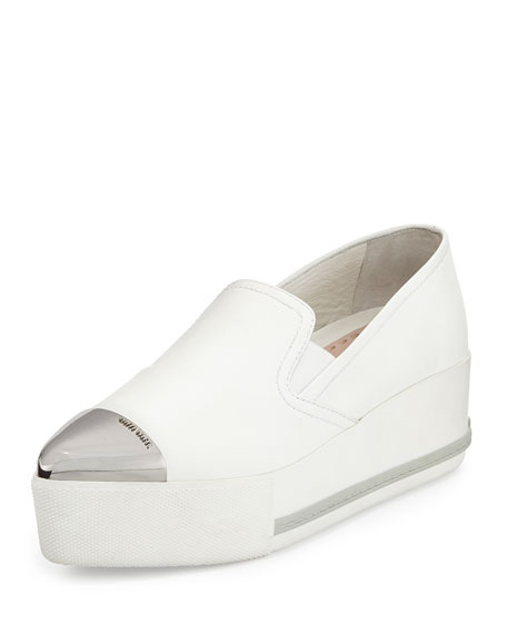 Metallic Cap-Toe Skate Sneaker, White (Bianco)