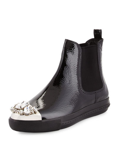 Patent Jewel-Toe Chelsea Boot, Black (Nero)
