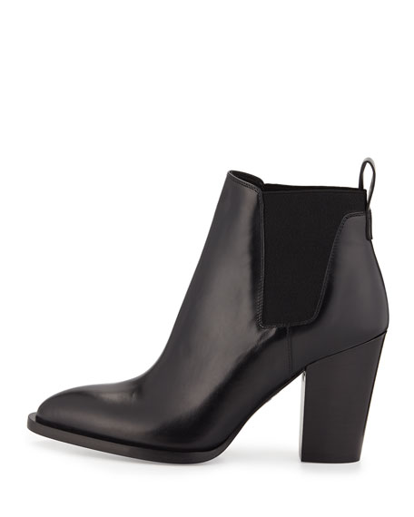 Edith Leather Bootie, Black
