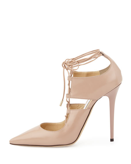 Hoops Lace-Up Leather Pump, Pink