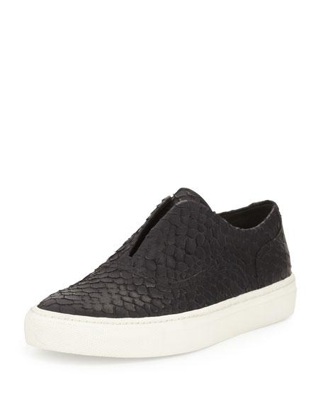 Vince Nelson Python-Embossed Slip-On Sneaker, Black