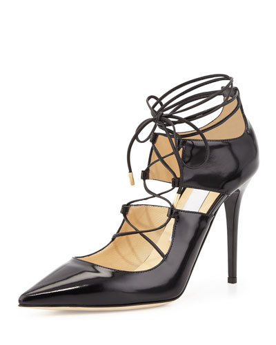 Hoops Lace-Up Leather Pump, Black