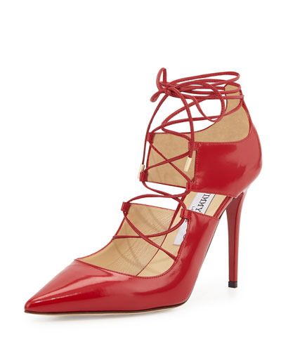 Hoops Lace-Up Leather Pump, Red