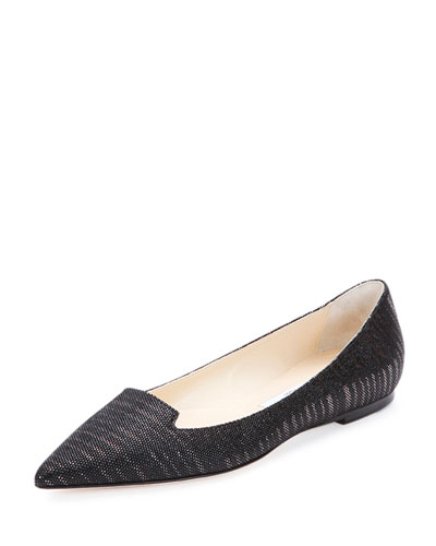 Attila Pixelated Leather Flat, Black