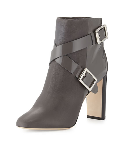 Dee Crisscross Leather Ankle Boot, Mist