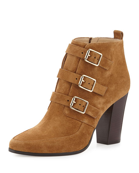Jimmy Choo Hutch Suede Triple-Buckle Boot, Cinnamon