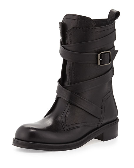 Jimmy Choo Dalston Wraparound-Strap Leather Boot, Black
