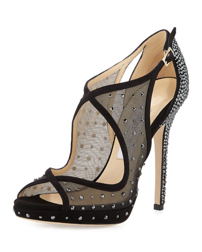 Leondra Crystal-Embellished Evening Sandal, Black