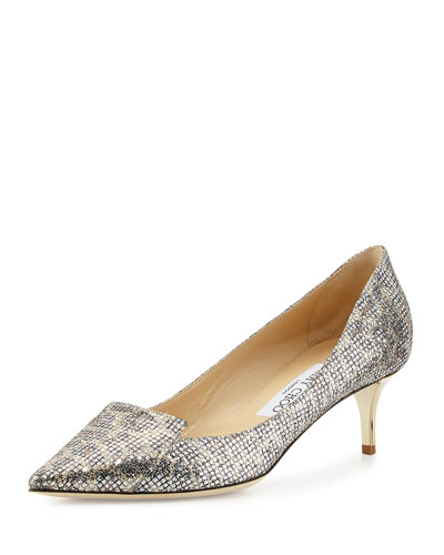 Allure Glittered Kitten-Heel Pump, Leopard