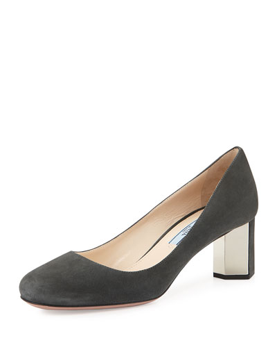 Suede Metal-Heel Pump, Gray