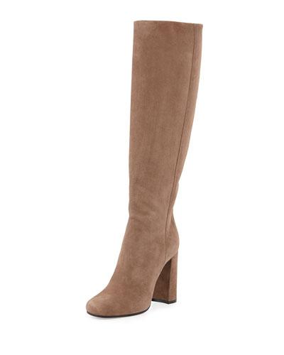 Suede High-Heel Knee Boot, Mink (Visone)