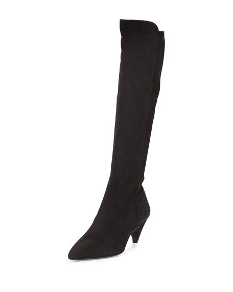 Prada Suede Low-Heel Knee Boot, Black (Nero)
