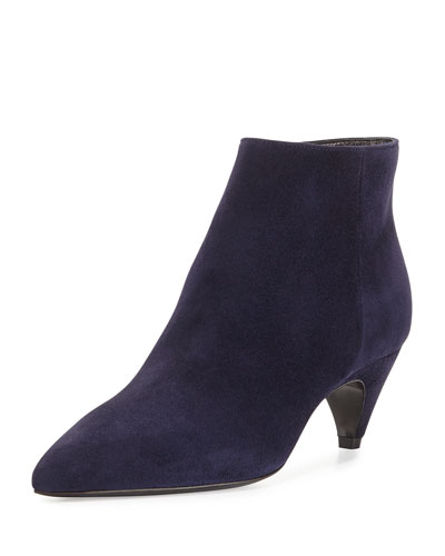 Pointed-Toe Low-Heel Ankle Boot, Bleu