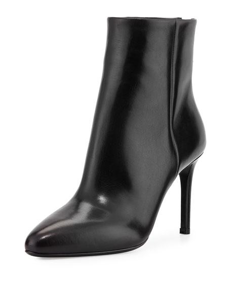 Prada Vitello Back-Zip Ankle Boot, Black (Nero)