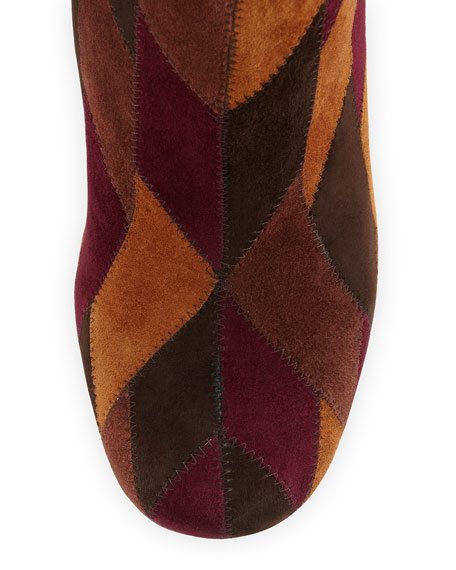 Patchwork Suede Ankle Boot, Spice