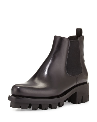 Leather Chelsea Ankle Boot, Nero