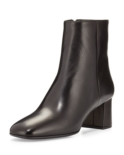 Square-Toe Ankle Boot, Nero