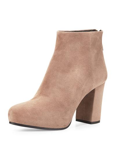 Back-Zip Ankle Boot, Visone