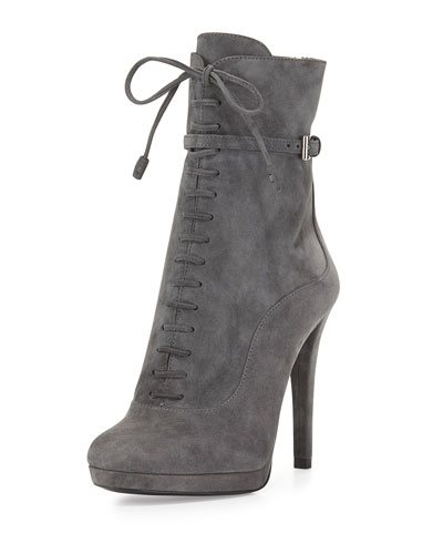 Lace-Up High-Heel Ankle Boot, Gray