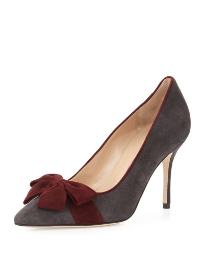 Contina Suede Bow Pump, Gray/Bordeaux