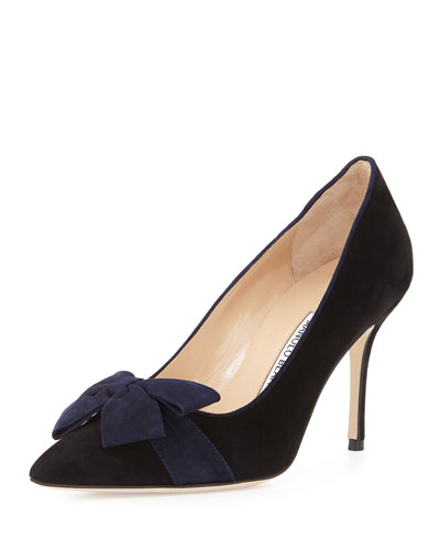 Contina Suede Bow Pump, Black/Navy