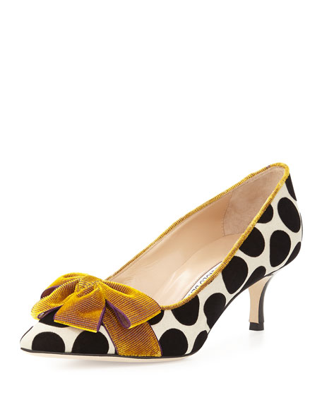 Manolo Blahnik Gorina Velvet Polka-Dot Pump, Black/White/Gold