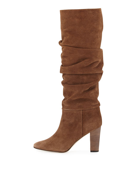 Brunchilee Suede Scrunched Knee Boot, Brown