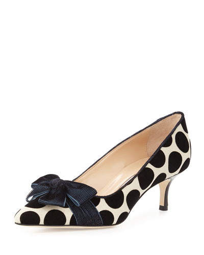 Gorina Velvet Polka-Dot Pump, Blue