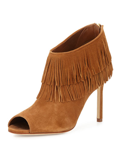 Naboup Suede Fringe Open-Toe Bootie, Camel