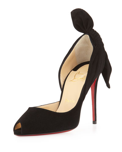 Christian Louboutin	 Barbara Half-d'Orsay Knot-Heel Red Sole Pump
