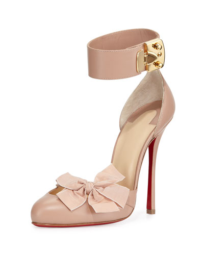 Fetish Red Sole d'Orsay Pump, Nude/Golden