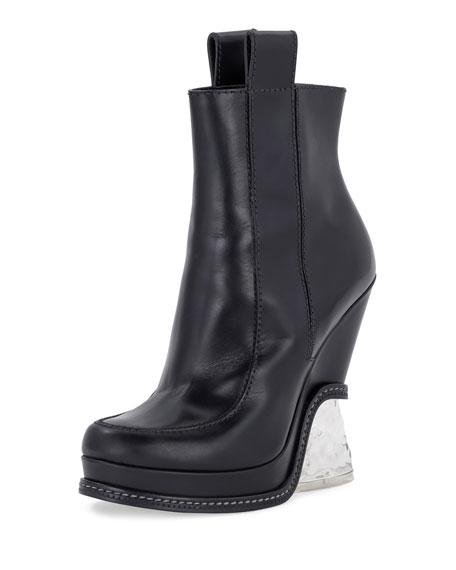 Fendi Leather Ice-Heel Boot, Black