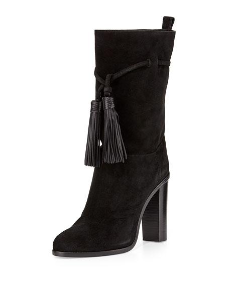 Lanvin Suede Tassel Mid-Calf Boot, Black