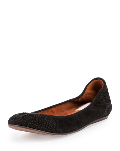 Suede Topstitched Ballet Flat, Black