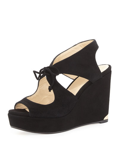 Nayeem Tie-Front Wedge Sandal, Black