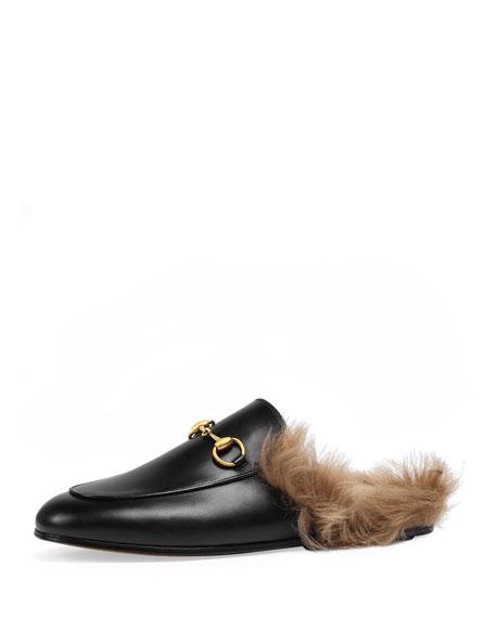 Gucci Princetown Fur-Lined Mule, Black (Nero)