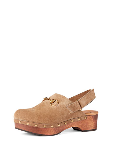 Amstel Studded Suede Clog, Taupe