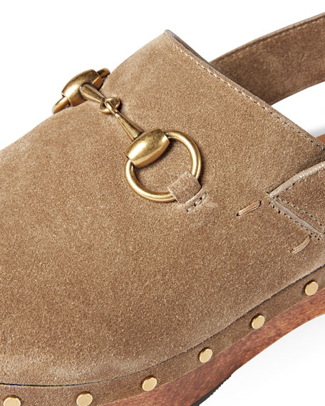 Gucci Amstel Studded Suede Clog, Taupe