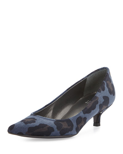 Poco Low-Heel Chenille Pump, Sea