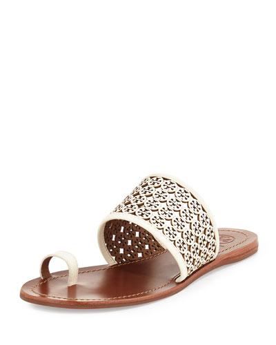 Fret Logo-Perforated Sandal, Ivory