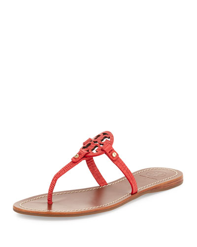 Mini Miller Leather Flat Sandal, Orange