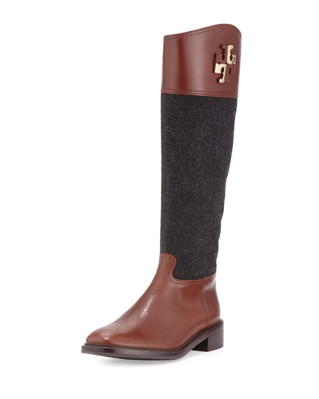 Tory Burch Lowell Logo Riding Boot Charcoal Espresso