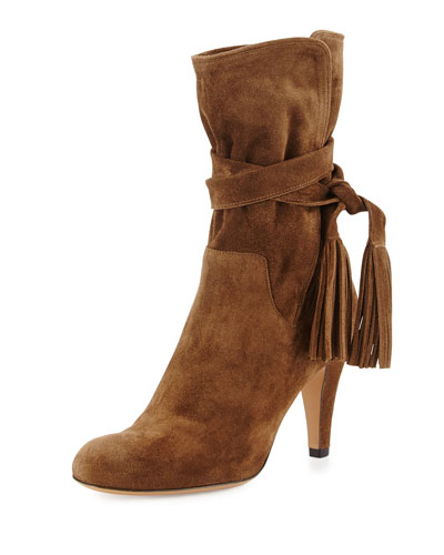Suede Tie-Top Ankle Boot, Military