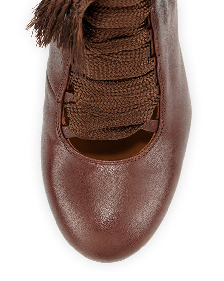 Chloe Leather Lace-Up Ankle Boot Brown