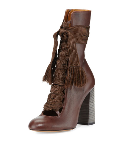 Leather Lace-Up Ankle Boot, Brown