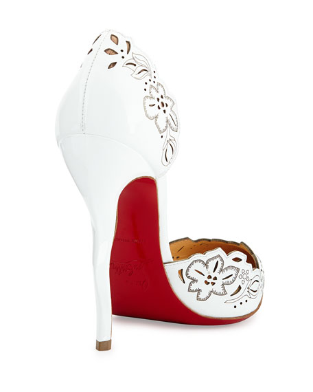 Beloved Laser-Cut Patent Red Sole Pump, White