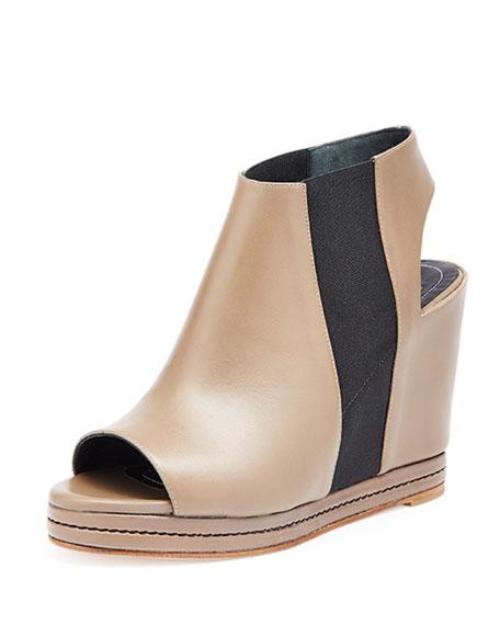 Balenciaga Open-Toe Leather Wedge Bootie, Beige