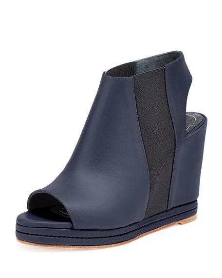 Balenciaga Open-Toe Leather Wedge Bootie, Black