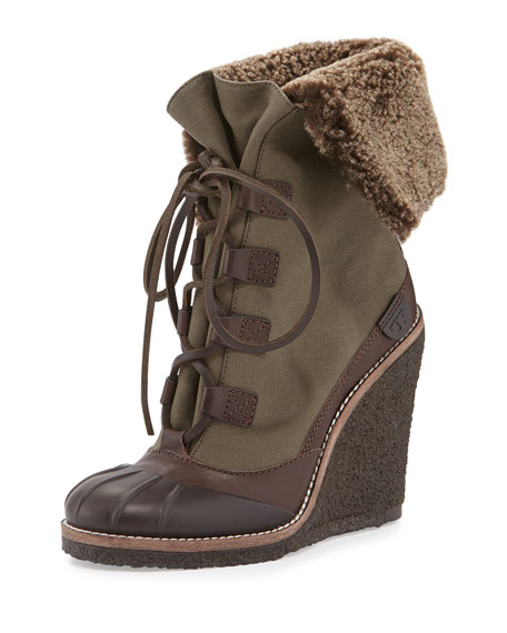 Tory Burch Fairfax Shearling-Lined Wedge Boot, Espresso/New Olive